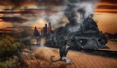 Durango -Silverton Train #2 (brian_stoddart) Tags: composite colour clouds sky desert trains bird railway sand steam smoky pretend