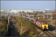57308, Rugby (Jason 87030) Tags: 57 vergin vermin portaloo pendolino drag queen dildo loco rugby cliftonroadbridge wcml sunny shot oxley wembley joke king jo red silver grey white tintin locomotive tracks vantage point viwe rails warks warwickshire lighting canon image