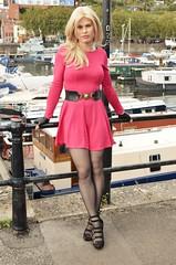 Girl in the pink dress (Miss Nina Jay) Tags: tights heels dress