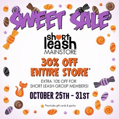 Sweet Sale @ Short Leash & ATCSL Neighborhood Stores (Short Leash // original mesh & virtual kink) Tags: shortleash secondlife atowncalledshortleash storesale simsale discounts 30off kinky fetish accessories collars furniture bdsm deco decor petplay pet submissive sub maledom mommy mommydomme daddy daddydom domme dom master mistress miss mister humiliation degradation spanking babygirl babyboy babydom atcsl