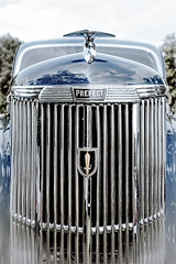 Ford Prefect (vale0065) Tags: blue blauw ford car auto grille radiator chroom chrome bonnet hood transport transportation sign reflection reflectie