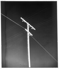 4x5-186p-58 (ndpa / s. lundeen, archivist) Tags: nick dewolf nickdewolf bw blackwhite photographbynickdewolf 1950s late1950s film 4x5 largeformat sheetfilm monochrome blackandwhite mexico ontheroad roadtrip mexican powerlines utilitypole lines power wires bajacalifornia baja southerncalifornia northwesternmexico 1958 positive dirt dirty spots specks southwesternunitedstates
