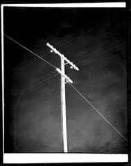 4x5-185-58 (ndpa / s. lundeen, archivist) Tags: nick dewolf nickdewolf bw blackwhite photographbynickdewolf 1950s late1950s film 4x5 largeformat sheetfilm monochrome blackandwhite mexico ontheroad roadtrip mexican powerlines utilitypole lines power wires bajacalifornia baja southerncalifornia northwesternmexico 1958 dirt dirty spots specks southwesternunitedstates