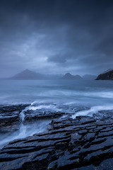 Dramatic weather at Elgol, Isle of Skye (Michael Long Landscaper) Tags: longexposure water mountains isleofskye highlands elgol stones cliffs bay light europe dramatic uk seascape ef1635mm eos canon benro gitzo algol scotland mountain rain storm lone exposure beach coastal rocks rocky stone highland travel clouds visitscotland