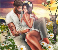 [ 📷 - 127 ] (insociable.sl) Tags: beard ink tattoo marguerite daisy floral nature flower deer pet puppy dog sunset cute relax sweetmoments hug girlfriend bae love couple edit sl secondlife