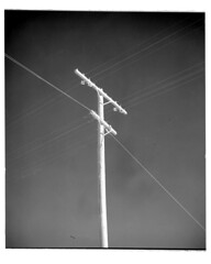4x5-187p-58 (ndpa / s. lundeen, archivist) Tags: nick dewolf nickdewolf bw blackwhite photographbynickdewolf 1950s late1950s film 4x5 largeformat sheetfilm monochrome blackandwhite mexico ontheroad roadtrip mexican powerlines utilitypole lines power wires bajacalifornia baja southerncalifornia northwesternmexico 1958 positive dirt dirty spots specks southwesternunitedstates