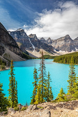 Canadian Rocky Mountains Iconic Landscape Moraine Lake (PIERRE LECLERC PHOTO) Tags: morainelake canada alberta bluelake mountains nature landscape outdoors trees forest wilderness banff banffnationalpark canadianrockies rockymountains rockies pinetrees evergreen glacier moraine lac albertatourism travel explorecanada iconiclandscapes landmark famous popular trending adventure roadtrip pierreleclercphotography