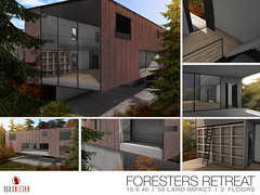 NEW! Foresters Retreat @ Uber (Bhad Craven 'Bad Unicorn') Tags: fall autmn autumn rusty rust orange house trees forest retreats wood modern library