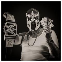 Celebrate!! (_Matt_T_) Tags: selfie portrait dailyinoctober af540fgz apolloorb43 smcpda70mmf24 autoportrait 365 westcott cactusv6 af360fgz bw mateo luchador wwe winner prize wrestler