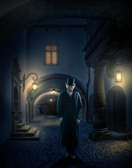 Dr Jekyll (Repp1) Tags: man walking homme enmarchant tophat hautdeform walkingstick canne night nuit lamplight lumièredelalamp drjekyll rothenberg germany allemagne longcoat longmanteau street rue