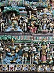 the Hindu temple (2) (SM Tham) Tags: asia southeastasia singapore littleindia serangoonroad beliliosroad sriveeramakaliamman hindu temple hinduism indian architecture building statues painted gods deities religion culture colours colors colorful art sages wisemen basrelief