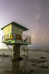 Feet Up Friday With the Coastal Milky Way (slworking2) Tags: cardiffbythesea california unitedstatesofamerica sandiego beach lifeguardtower feetup selfie selfportrait milkyway night