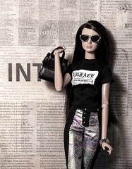 A-Z Doll Photo Challenge - C - camouflage (sadeyeddoll) Tags: reckless akagigi gisellediefendorf integritytoys doll newsprint newspaper news collage nuface