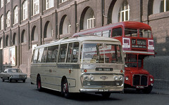 Wallace Arnold Tours . MNW341F . York Way , Kings Cross , London . July-1969 . (AndrewHA's) Tags: bus coach london wallace arnold tours mnw341f leyland leopard psu3 plaxton panorama coachtour dunoon argyleshire scotland londontransport aec routemaster rm 593 wlt593 route 17 hollowayroad pemberton gardens highgate garage ht
