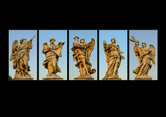 Bridge of Angels, Rome(2) (S.R.Murphy) Tags: rome italy bridgeofangels sculpture art publicart italia apostles lightroom stuartmurphy polyptych ponte latium fujifilmxf1850mm fujifilmxt2