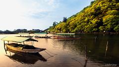 Yakatabune (屋形船) (melvhsc100) Tags: kyotojapan kyotoattraction beautifulscenerykyoto arashiyamakyoto japaneseboat greenery mountain lightandcolors