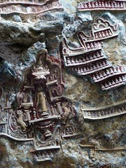 Small carved Buddhas and other Reliefs on Cave Wall, Southern Burma (jasonrosette) Tags: camerado jrosette jasonrosette travel asia myanmar burma religion holy worship carvings buddhas relief wall