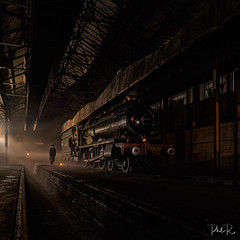 Getting Ready For Departure (PhilR1000) Tags: steam didcotraillwaycentre locomotive train rails night dark engineshed enggineering timelineevents people reenactors