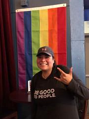Bonnie at Rendezvous (oxfordblues84) Tags: alaska juneau juneaualaska bar rendezvous gaybar rainbowflag prideflag bonnie woman lesbian smile hat royalprincesscruise princesscruises