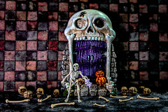 ❤︎ Come on in!!! ❤︎ (Dotsy McCurly) Tags: smileonsaturday creepycreatures hsos happysmileonsaturday halloween fun skeleton bones pumpkin toyphotography art figures nikond850 tamron35150mmf284 adobe photoshop topaz