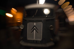Ancient French (FireDevilPhoto) Tags: illuminated lightingequipment retrostyled oldfashioned night technology dark electriclamp blackcolor indoors old citroen car van bokehballs globular mir sony