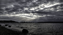 Dark Drama (LifeLover4) Tags: clouds pugetsound clarity storm beach narrows crepuscular rays outside textures