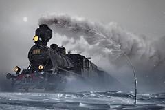 Il treno (Va e VIENI) Tags: art ambrosioni zzmanipulation treno nevicata people inverno neve