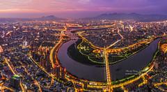 Night View @ Xindianxi, New Taipei City, Taiwan   新店溪 (Jennifer 真泥佛 * Taiwan) Tags: dji drone 華中橋 空拍 新店溪 夜景 夕陽 sunset taiwan newtaipeicity