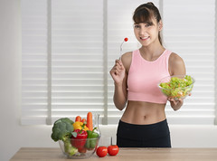 Asian girl eat clean food after exercise at home (I love landscape) Tags: eating healthy lady woman girl sportwear sport salad vegetables fit home slim breakfast vegetable dieting nutrition women clean health food eat thai asia asian people adult beauty person lifestyle green organic female diet vegetarian wellness fitness exercise happy fruit fresh vitamins doctor heart portrait medicine cheerful attractive pretty healthcare saladbowl