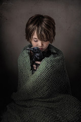 The Protector ({jessica drossin}) Tags: child jessicadrossin boy hair crow raven bird blanket knit texture wwwjessicadrossintexturesblogspotcom book cover face portrait freckles