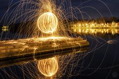 Spark Orb (superdavebrem77) Tags: sparks burningsteelwool peterborough ontario littlelake reflection night orbs
