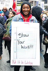 Show Your Work! Put it in Writing! (kirstiecat) Tags: portrait woman female teachersstrike chicagoteachersstrike protest rally chicagopublicschools lorilightfoot strike socialjustice sign publiceducation education chicago america ctu chicagoteachersunion putitinwriting