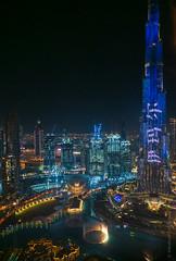 Night Burj Khalifa and Pools (www.mikereidphotography.com) Tags: burjkhalifa dubai night city urban gfx50s cityscape