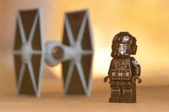 LEGO Tie Fighter & Pilot (weeLEGOman) Tags: lego star wars tie fighter pilot minifigure toy printed arms macro photography uk nikon d7100 105mm robert rob trevissmith weelegoman