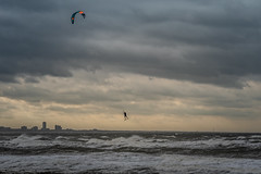 Kitespot IJmuiden south pier (Dannis van der Heiden) Tags: kitesurfer kitespot ijmuiden sea sky flying clouds waves kite cityscape netherlands movement sport action landscape silhouette building south pier d750 nikond750 tamron70210mmf4 pivot9 jump jumping zandfoort seascape coast