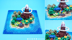 Microscale Koholint Island from Link's Awakening (BrickinNick) Tags: lego links awakening zelda twitch brickbuilding community afol koholint island video game map microscale