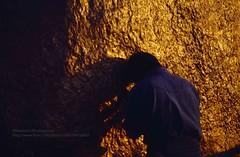 Kyaiktiyo, golden rock prayer (blauepics) Tags: myanmar birma burma southeast asia südostasien 1996 kyaiktiyo kyaiktio mountains berge evening sun abendsonne pagoda pagode golden rock goldener fels gold sacred heilig religious religiös man mann shadow schatten