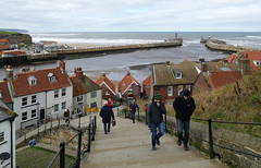 D23200.  The 199 Steps. (Ron Fisher) Tags: town whitby yorkshire northyorkshire england gb greatbritain uk unitedkingdom europe europa 199steps panasonic panasoniclumixfz1000 sea ocean northsea nordsee water wasser eau coast harbour waves pier lighthouse