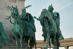 The Seven Chieftains (tim ellis) Tags: holiday budapest geo:lat=4751499889 geo:lon=1907856089 geotagged statue magyar chieftain horse heroessquare millenniummonument hungary