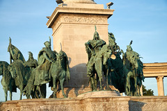 The Seven Chieftains (tim ellis) Tags: holiday budapest geo:lat=4751457433 geo:lon=1907767733 geotagged statue magyar chieftain seven horse árpád hungary heroessquare millenniummonument