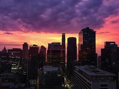 Chicago Skyscraper Sunrise (Seymour Lu) Tags: sunrise orange pink skyscrapers buildings architecture iphone iphone7 sky chicago illinois clouds usa mood morning dawn high elevation cityscape city color skyscraper