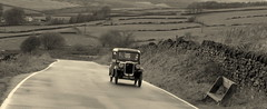 Back in time.. (Mike-Lee) Tags: panos runout oct2019 roads ano767 austinseven blackwhite backintime september1933 850cc blackcar sheffield nearhighbradfield