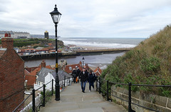 D23216.  The 199 Steps. (Ron Fisher) Tags: town whitby yorkshire northyorkshire england gb greatbritain uk unitedkingdom europe europa 199steps panasonic panasoniclumixfz1000 sea ocean northsea nordsee water wasser eau coast harbour waves pier
