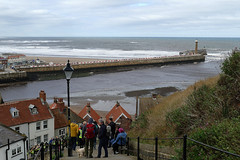 D23215.  View from The Steps. (Ron Fisher) Tags: town whitby yorkshire northyorkshire england gb greatbritain uk unitedkingdom europe europa 199steps panasonic panasoniclumixfz1000 sea ocean northsea nordsee water wasser eau coast harbour waves pier lighthouse