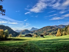 Autumn landscape seen on Hocheck mountain near Oberaudorf, Bavaria, Germany (UweBKK (α 77 on )) Tags: autumn autumnal fall herbst landscape landschaft scene scenic scenery view outdoors nature sky blue white cloud grass green meadow field tree forest bavaria bayern germany deutschland europe europa iphone mountain hocheck oberaudorf