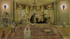 Lo que importa es el detalle (luzazul1) Tags: espíritu spirit descanso salón hall photoshop photomanipulation muñeca armadillo doll nazarenos gato cat máscara mask jarrón florero collage surrealismo surrealista