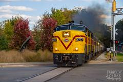Throttling Up Northbound (jwjordak) Tags: cvsr statue gradecrossing passengertrain smoke 6777 fpa4 indian canoe cuyahogavalleyscenic train akron ohio unitedstatesofamerica