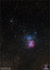 Open Cluster M21 and the Trifid Nebula (The Dark Side Observatory) Tags: tomwildoner night sky deepsky space outerspace skywatcher telescope 120ed celestron cgemdx asi290mc zwo astronomy astronomer science canon canon6d deepspace guided weatherly pennsylvania observatory darksideobservatory stars star tdsobservatory backyardeos earthskyscience m20 m21 trifidnebula sagittarius astrometrydotnet:id=nova3735687 astrometrydotnet:status=solved