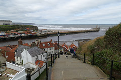 D23212.  The 199 Steps. (Ron Fisher) Tags: town whitby yorkshire northyorkshire england gb greatbritain uk unitedkingdom europe europa 199steps panasonic panasoniclumixfz1000 sea ocean northsea nordsee water wasser eau coast harbour waves pier lighthouse