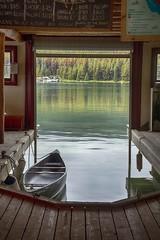 Maligne Lake Boat House (Edmonton Ken) Tags: maline lake jasper national park boat house pine beetle water canoe rental interior canada wood